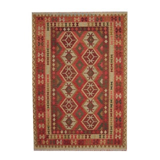 Herat Oriental Afghan Hand-woven Tribal Vegetable Dye Wool Kilim (6'11 x 9'10)