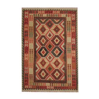 Herat Oriental Afghan Hand-woven Tribal Vegetable Dye Kilim Rust/ Light Green Wool Rug (6'8 x 9'7)
