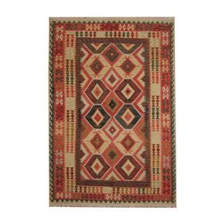Herat Oriental Afghan Hand-woven Tribal Vegetable Dye Wool Kilim (6'8 x 9'7)