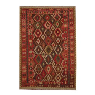 Herat Oriental Afghan Hand-woven Tribal Vegetable Dye Kilim Rust/ Red Wool Rug (6'10 x 10')