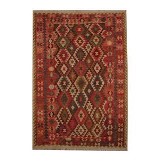 Herat Oriental Afghan Hand-woven Tribal Vegetable Dye Wool Kilim (6'10 x 10')