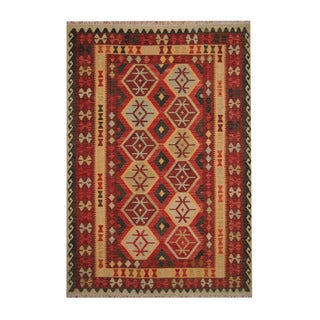 Herat Oriental Afghan Hand-woven Tribal Vegetable Dye Kilim Red/ Rust Wool Rug (6'10 x 9'9)