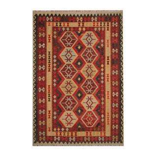 Herat Oriental Afghan Hand-woven Tribal Vegetable Dye Wool Kilim (6'10 x 9'9)