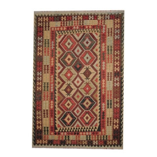 Herat Oriental Afghan Hand-woven Tribal Vegetable Dye Kilim Rust/ Red Wool Rug (6'8 x 9'10)