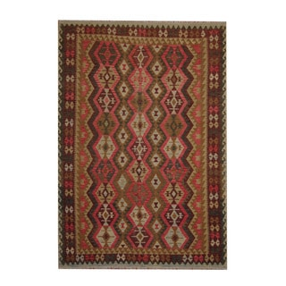 Herat Oriental Afghan Hand-woven Tribal Vegetable Dye Kilim Olive / Dark Rust Wool Rug (6'10 x 9'9)