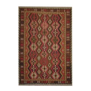 Herat Oriental Afghan Hand-woven Olive/ Dark Rust Tribal Vegetable Dye Wool Kilim (6'10 x 9'9)
