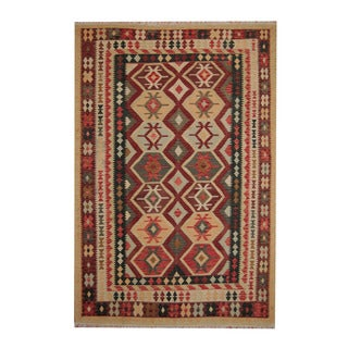 Herat Oriental Afghan Hand-woven Tribal Vegetable Dye Kilim Rust/ Green Wool Rug (6'8 x 9'11)