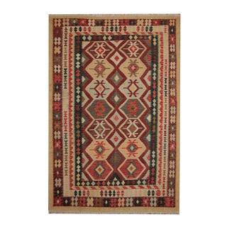 Herat Oriental Afghan Hand-woven Tribal Vegetable Dye Wool Kilim (6'8 x 9'11)