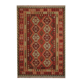 Herat Oriental Afghan Hand-woven Tribal Vegetable Dye Kilim Rust/ Light Green Wool Rug (6'9 x 9'9)