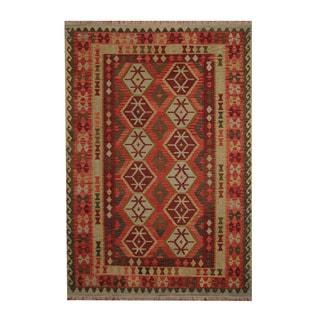 Herat Oriental Afghan Hand-woven Tribal Vegetable Dye Wool Kilim (6'9 x 9'9)