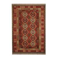 Handmade Herat Oriental Afghan Tribal Vegetable Dye Wool Kilim (Afghanistan) - 6'9 x 9'9