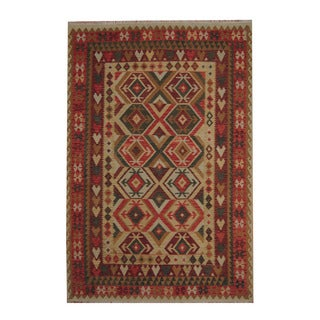 Herat Oriental Afghan Hand-woven Tribal Vegetable Dye Kilim Beige/ Rust Wool Rug (6'8 x 9'11)
