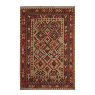 Herat Oriental Afghan Hand-woven Beige/ Rust Tribal Vegetable Dye Wool Kilim (6'8 x 9'11)