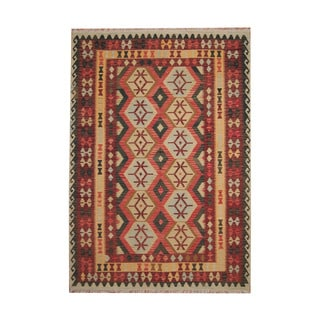 Herat Oriental Afghan Hand-woven Tribal Vegetable Dye Kilim Red/ Rust Wool Rug (7' x 9'9)