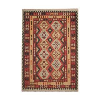 Herat Oriental Afghan Hand-woven Vegetable Dye Tribal Wool Kilim (7' x 9'9)
