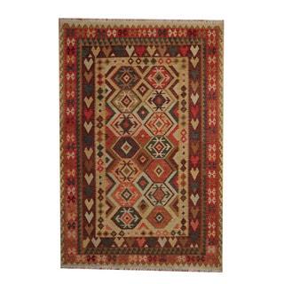 Herat Oriental Afghan Hand-woven Tribal Vegetable Dye Kilim Gold/ Red Wool Rug (6'8 x 9'9)