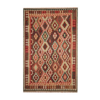 Herat Oriental Afghan Hand-woven Tribal Vegetable Dye Kilim Red/ Rust Wool Rug (6'9 x 10')