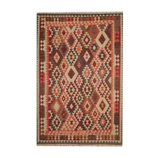 Herat Oriental Afghan Hand-woven Tribal Vegetable Dye Wool Kilim (6'9 x 10')