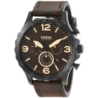 Fossil Men's JR1487 Nate Chronograph Brown Dial Brown Leather Watch|https://ak1.ostkcdn.com/images/products/10290084/P17404471.jpg?impolicy=medium