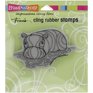 Stampendous Cling Rubber Stamp 4.75inX4.5in Pkg Penpattern Hippo
