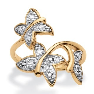 PalmBeach Diamond Accent Butterfly Ring 18k Gold Over Sterling Silver