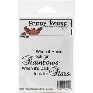 Riley & Company Funny Bones Cling Mounted Stamp 3inX1.75in Rainbows & Stars