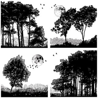 Crafty Individuals Unmounted Rubber Stamp 4.75inX7in Pkg Four Tree Landscapes