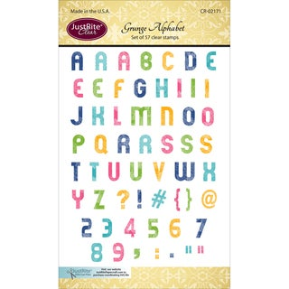 JustRite Papercraft Clear Stamp Set 4inX6in Grunge Alphabet