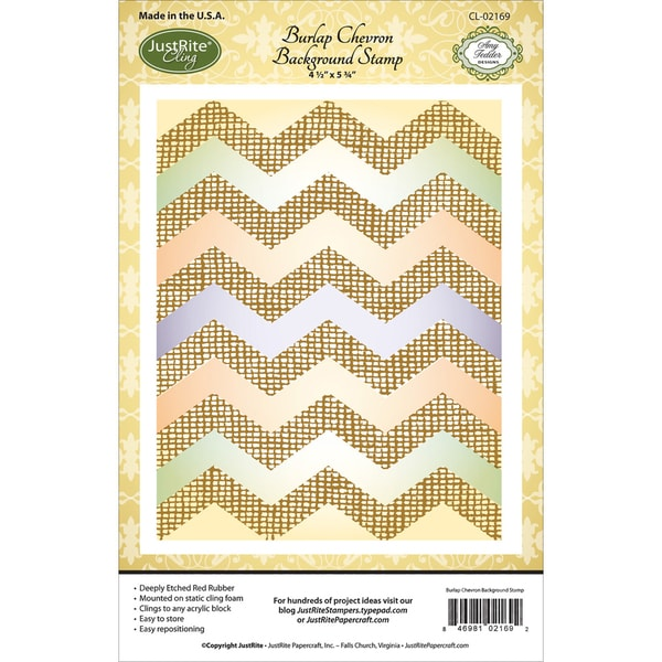 JustRite Papercraft Cling Background Stamp 4.5inX5.75in Burlap Chevron