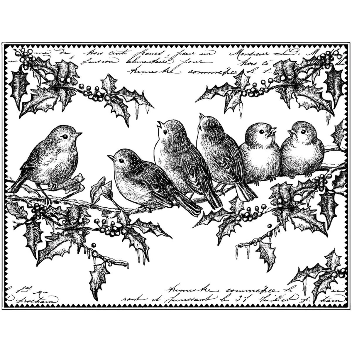 Crafty Individuals Unmounted Rubber Stamp 4.75inX7in Pkg Holly Jolly Robins (Holly Jolly Robins), Black/White