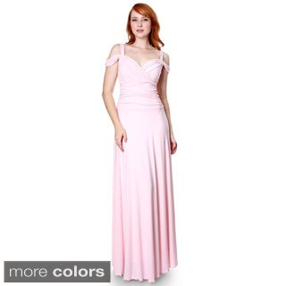 Evanese Women's Slip On Elegant Formal Long Dress Full-Length Ball Gown