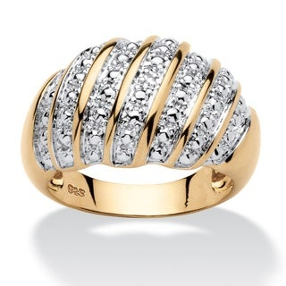 14k Yellow Gold-over-Silver Diamond Accent Fashion Dome Ring (4 options available)