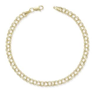 10k Yellow Gold Double Link 7-Inch Charm Bracelet