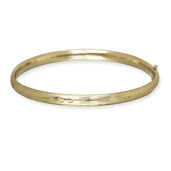 632fb8d4451e7 10k Yellow Gold 5mm 7-Inch Floral Bangle Bracelet