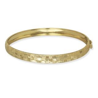 10k Yellow Gold 6mm 7-InchDiamond-cut Geometric Bangle Bracelet