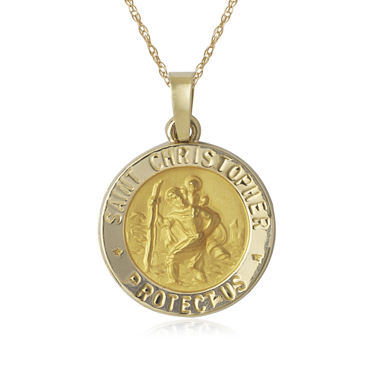 Christopher Charm Pendant with 0.8mm Box Chain Necklace 14K Yellow Gold Religious St