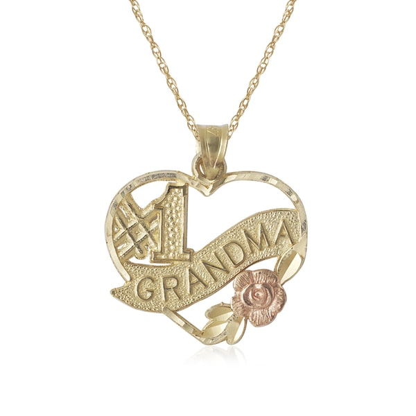 Shop 10k two tone gold number one grandma heart charm 16 inch 10k two tone gold number one grandma heart charm 16 inch necklace aloadofball Image collections