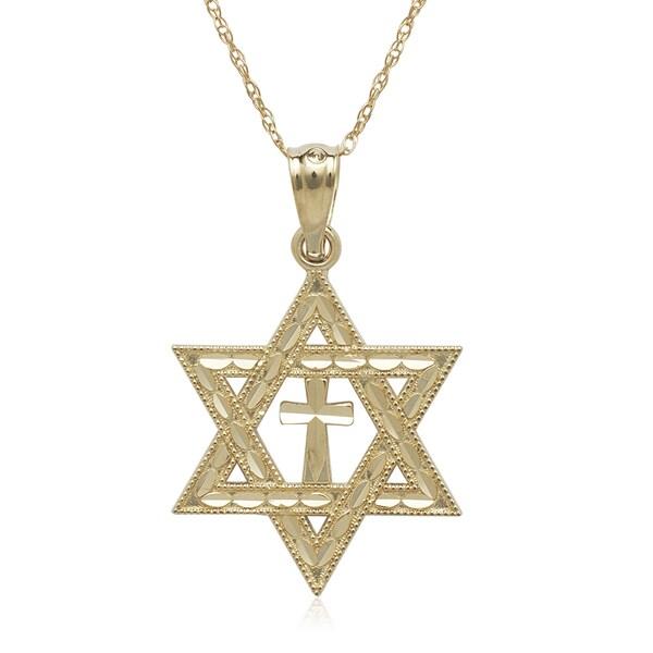 14k yellow gold diamond cut star of david cross 16 inch necklace 14k yellow gold diamond cut star of david cross 16 inch necklace aloadofball Gallery