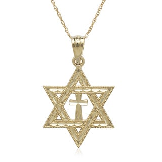 14k Yellow Gold Diamond-cut Star of David Cross 16-inch Necklace