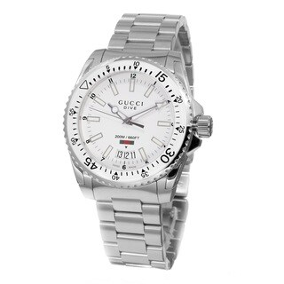 Link to Gucci Men's YA136302 'Dive' White Dial Stainless Steel Swiss Quartz Watch Similar Items in Men's Watches
