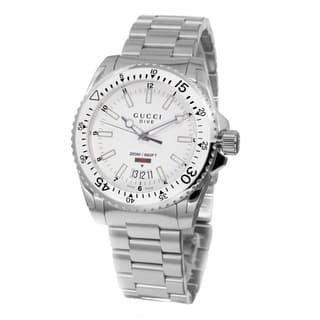 Gucci Men's YA136302 'Dive' White Dial Stainless Steel Swiss Quartz Watch|https://ak1.ostkcdn.com/images/products/10290485/P17404878.jpg?impolicy=medium