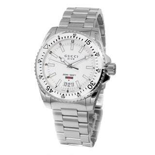 Gucci Men's YA136302 'Dive' White Dial Stainless Steel Swiss Quartz Watch