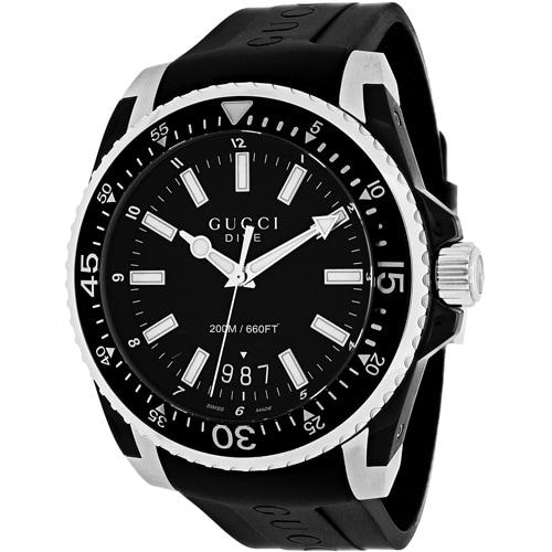 569f3258c73 Shop Gucci Men s YA136204  Dive  Black Dial Black Rubber Strap Swiss Quartz  Watch - Free Shipping Today - Overstock - 10290487
