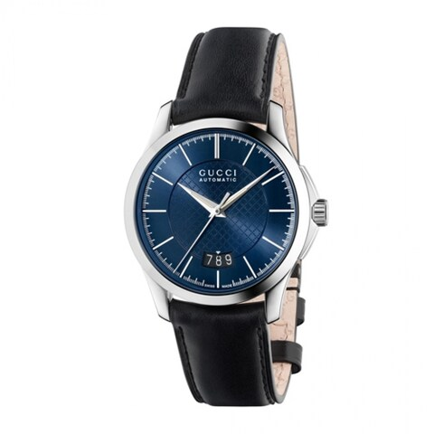 Gucci Men's 'Timeless' Blue Dial Black Leather Strap Swiss Automatic Watch