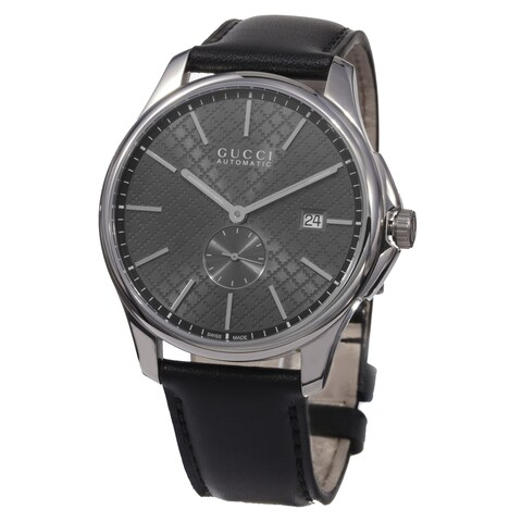 Gucci Men's 'Timeless' Grey Dial Black Leather Strap Swiss Automatic Watch