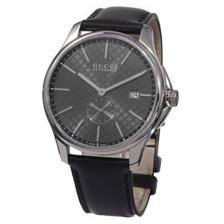 Gucci Men's YA126319 'Timeless' Grey Dial Black Leather Strap Swiss Automatic Watch
