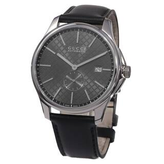 Gucci Men's YA126319 'Timeless' Grey Dial Black Leather Strap Swiss Automatic Watch https://ak1.ostkcdn.com/images/products/10290523/P17404884.jpg?impolicy=medium