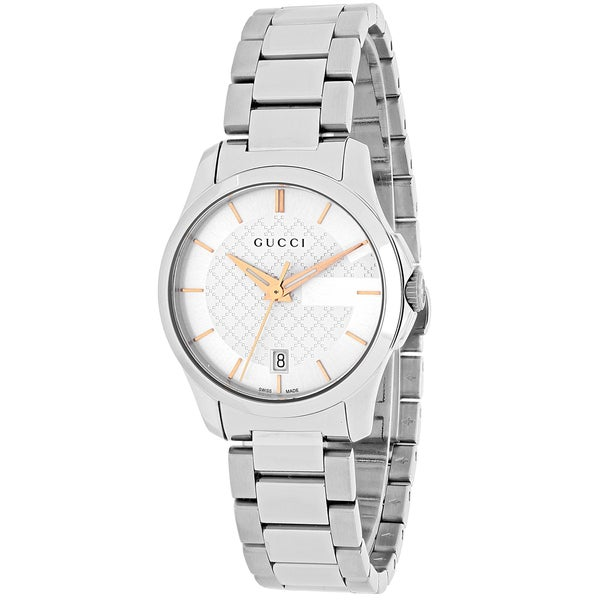 0110c0ccf9f Shop Gucci Women s YA126523  Timeless  Silver Dial Stainless Steel ...