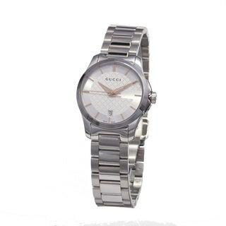 Gucci Women's YA126523 'Timeless' Silver Dial Stainless Steel Small Swiss Quartz Watch