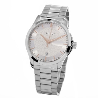 Gucci Women's YA126442 'Timeless' Silver Dial Stainless Steel Medium Swiss Quartz Watch